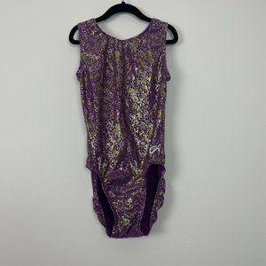 GK Elite Gymnastics Leotard Gold Purple Shimmer Si